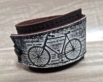 Leather Cuff Unisex Wrap, Bicycle Digital Photo Print on 100% Genuine Leather