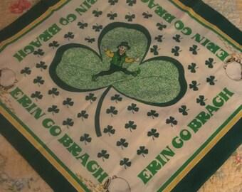 "St Patricks Hanky Handkerchief ERIN GO BRAGH w/ Leprecheon & Shamrocks 22"" X 21 1/2"""