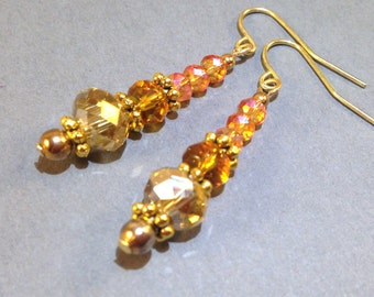 Yellow And Orange Czech Earrings - AB Czech Crystal - Gold Earrings - Statement Earrings - Boho Jewelry - Hippie Jewelry - Gift For Her