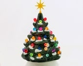 Small Ceramic Christmas Tree Snow Tipped Branches 6 Inch Miniature Electric Tabletop Tree Let it Snow