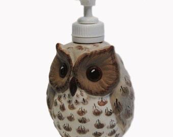Small Ceramic Owl Pump Dispenser For Soft Soap or Lotions Hand Painted Original Design