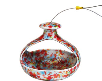 Colorful Ceramic Hanging Bird Feeder Retro Style Bright Colors with Strong Steel Cable Hanger for Patio Porch Balcony Yard