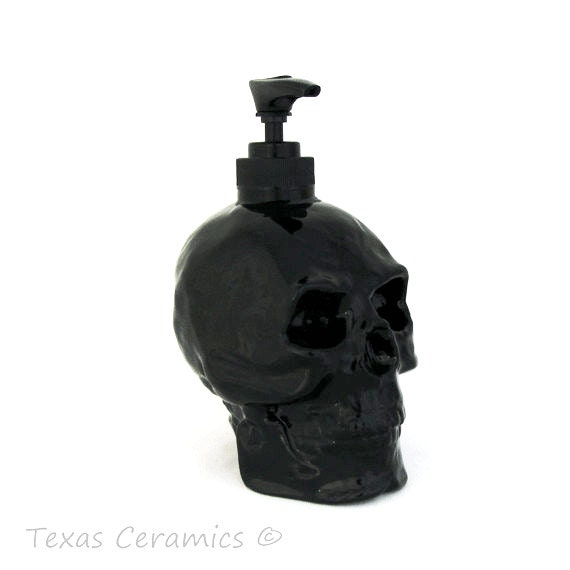 Ceramic Human Skull Pump Dispenser in Black Ceramic Soap or Lotion Bottle Pirate Skull Ware for Bath Vanity or Kitchen Counters