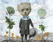 "Clearance! 5x7"" Pet Art Print , Fluffy White Dog Art , Mixed Media Collage Art Reproduction, Woodland Art , Whimsical Art"