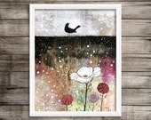 Large Wall Art Print, Bird Painting Reproduction , Canvas Painting, Giclee Print , Whimsical Mixed Media Abstract Art