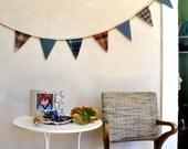 Plaid Wool Garland Bunting Banner Autumn & Winter Home Decor Medium Size Triangles