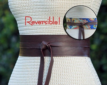 REVERSIBLE Leather + Fabric Wrap Belt / Sash - Brown leather and blue paisley print - XS S M L Petite & Plus Size - double sided