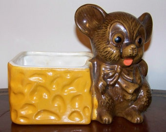 Vintage Haeger Mouse & Cheese Planter Made in USA
