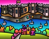 Caernarfon Castle - colourful fine art giclee print by Amanda Hone