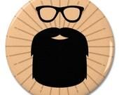 "Hipster Beard & Glasses 2.25"" Pinback Pin Button Badge"