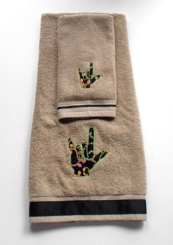 ASL Sign Language I Love You Hand Symbol Hand and Bath Towel