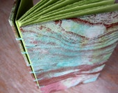 Travel Journal Pink Blue Green Gold - unlined green pages - Ready To Ship