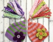 TWiN 6 - 12 month Baby GiRL FLoWER HATs Knit PHoTO PRoPs Coral Pink Mauve Green Stripe Stocking Caps BiG TaSSEL Beanies Coordinating Toques