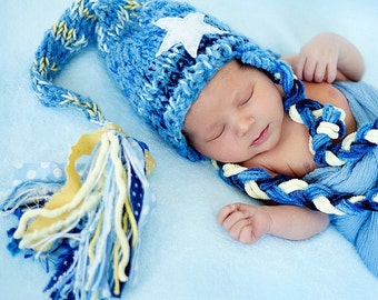 Newborn to 3 month Baby Boy Ear Flap Hat KNiT BaBY PHoTO ProP Blue Stocking Cap STaR Aviator BeANiE Fat Tassel Braid Toque CoMiNG HoME Gift