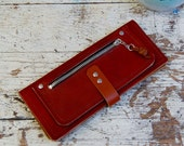 Leather Lady Wallet / Leather Women's Wallet With Optional Wrist Strap / Neutral Leather Wallet / Large Leather Wallet / Handmade Wallet