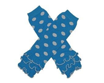 Turquoise and White polka dotted Ruffled Leg Warmers