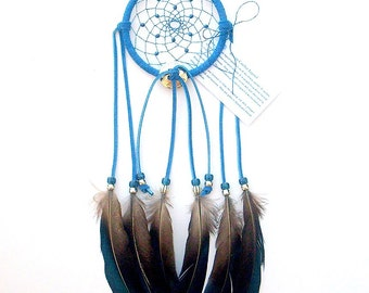 Cobalt Blue Dream Catcher, Lady Amherst Pheasant Feathers