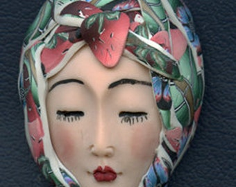 Polymer Clay OOAK   Detailed Asian  Art Doll Face with hat Cab  ASH 6