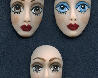 """A Lot of 3   Fleshtone detailed   1 1/2  """"  Polymer Face Cabs Un Drilled ALFC 3"""
