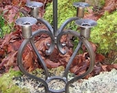 Vintage Hand Forged Ironwork Wrought Iron 5 Arm Candelabra Candle Holder Rustic Decor