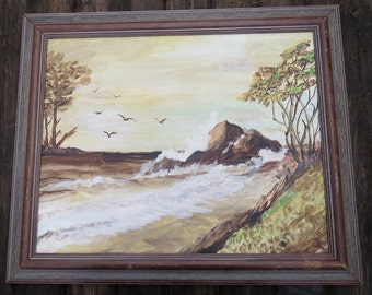 "Vintage '68 Seascape, Crashing Waves Rocks, Original Acrylic Painting 16 x 20"" with Pale Yellow Sky, Framed Artist Signed, Ocean Beach Decor"