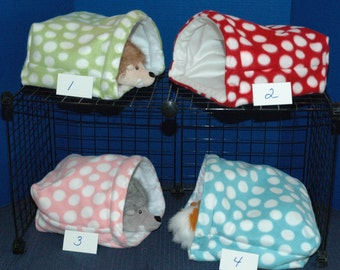 Guinea Pig Snuggle Huts 9x9 or 12x12 or 14x14 FREEstanding snuggle bag, w/without  waterproof pads, fleece sleep sack play sack hideout