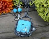 Natural Blue Diamond Turquoise Pendant Necklace - sterling silver - oxidized and rustic