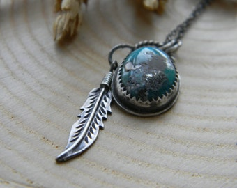 Bohemian Turquoise Pendant Necklace with feather - sterling silver - oxidized and rustic