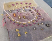 Old Gold Stitched Beaded Silk Greetings Card