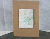 Ice White Stitched Beaded Silk Greetings Card