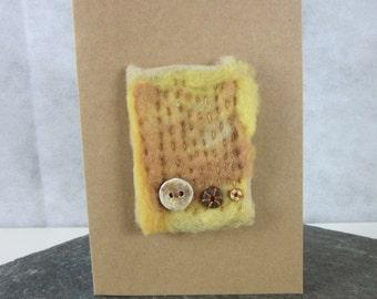 Golden Brown Ceramic Button Felt Greetings Card
