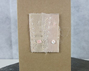 Ivory Stitched Beaded Silk Greetings Card