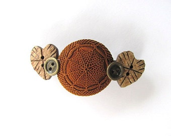 Vintage and Heart Button Barrette