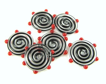 Black and Red Dots Lampwork Glass Disc Beads (6)