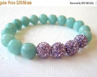 CIJ 35% OFF Amazonite Bracelet  with Lavender Crystal Pave Beads   Summer Wedding