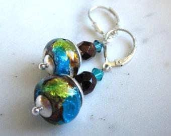 Dichroic Glass Teal, Copper, Lime, Earrings, Lampwork Glass Bead Earrings, Sterling Silver, Under 25