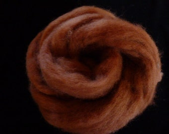 Corry X Hand Dyed Top for Felting Needle Felting Spinning Brown One Ounce