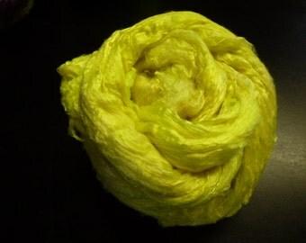 Neon Yellow Sun Rah  Hand Dyed Mulberry Silk Top 4 Ounces