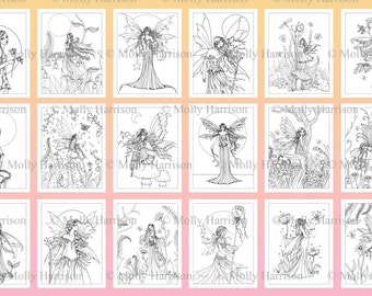PRINTABLE - Digital Fairy Coloring Book - 25 Images to color - Molly Harrison Fantasy Art - Fairy, faery, fairies, faeries,
