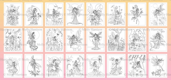 printable digital fairy coloring book 25 images to color molly harrison fantasy art fairy faery fairies faeries