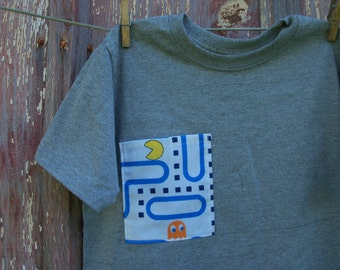 Child Size M 8 Gray T-Shirt with Video Game Pocket