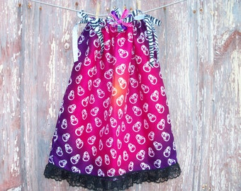 Ombre Skull Print Toddler Dress and Bow or Girl's Tunic Top ONE SIZE Fits All from 18 months to girl's 10