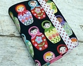 NWT reversible Bible cover, Adorable matryoshka dolls, pocket size. Folksy birds and flowers on reverse.