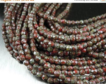 25% OFF Summer Sale 3mm Czech Beads - Opaque Red Picasso Firepolished Faceted 50 pcs