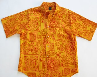 Large Vintage Towncraft Mens Shirt Button Down Up Collar 60s 70s Bold Print Tapered Orange Red