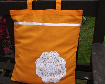 Vintage Lace covered Tote Bag - useful reusable shopping bag - Brighton - Orange and cream Mandala Circle