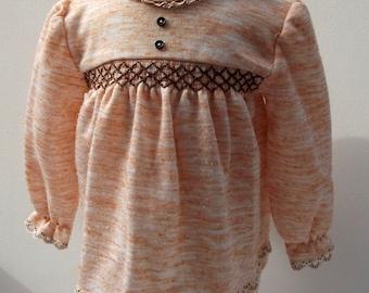 Sweet little girl's Handmade Peach Dress