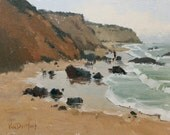 Crystal Grays - Original Impressionist Style Oil Painting of the Beach - California Beach Painting - Crystal Cove - Living Room Decor