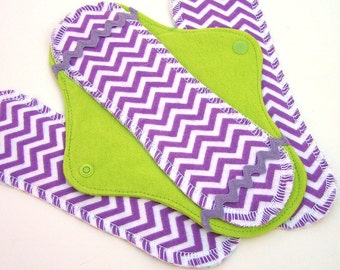 JazzyPads Cloth Menstrual Pad Set (mini purple lime chevron) by Tamarack