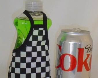 Black White Check Kitchen Pattern Dish Soap Bottle Apron Cover Staffer Party Favors Sm